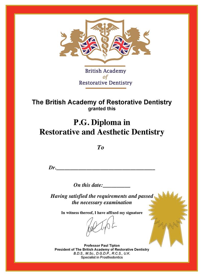 Restorative Aesthetic Dentistry Certificate Diploma Programme